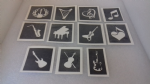 10 - 100 x Music themed stencils for glitter tattoos / airbrush / many other uses!  guitar violin saxophone piano harp